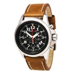 Armourlite AL832 Gent's Chrono Black Dial Brown Leather Band Watch,    #Armourlite,    #ArmourliteAL832