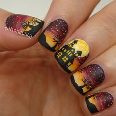 Haunted house nail art by cottonconey