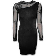 GOTHIC ELEGANCE - One Shoulder Fine Mesh Dress Black
