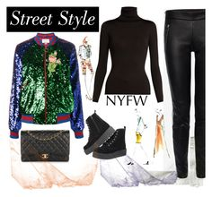"""""""NYFW Street Style"""" by fashionlili ❤ liked on Polyvore featuring Valentino, Alexander McQueen, Gucci and Chanel"""