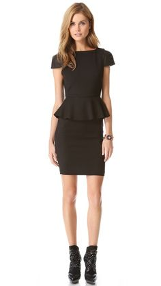 Great LBD for work! alice + olivia Caralie Peplum Dress with Leather Sleeves (IN EVERY COLOR!)