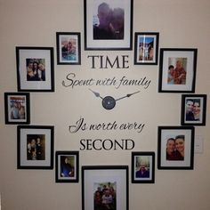 Time Spent with Family, is Worth Every Second- Family Wall Decal - Vinyl Family Wall Art - clock Wall Sticker -clock Wall Decor 604Q-4