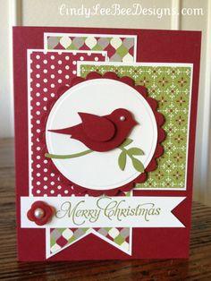 Card by Cindy Brumbaugh  (111112)   [(dies)  Spellbinders Nestabilities Circle,Scallop Circle;  (punch)  Stampin' Up! Bird Builder]