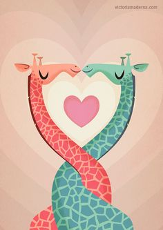 Oh! Too cute! <3 Giraffes in Love <3 That kissing thingy bug is spreading! <3
