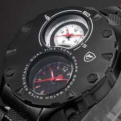 Shark Fashion Mens Stainless Steel Dual Time Zone Sport Black Red Wrist Watch