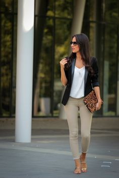Black blazer + white cami + olive skinnies + leopard clutch