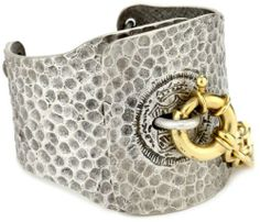 "TAT2 Designs ""Pavia"" Large Hammered Antique Silver with Gold Lock and Chain Cuff Bracelet TAT2 Designs. $198.00. Large hammered antique silver lock cuff with gold lock and chain and triple chain in back. Made in United States"