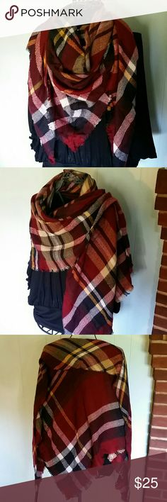 """Cranberry and Mustard Plaid Blanket Scarf New in package. Soft Triangle Blanket Scarf in Maroon Burgundy Dark Red, Mustard Yellow, White, Black and Camel Tan Plaid pattern. Trendy and versatile. 102"""" x 55""""x 55"""" Acrylic, Cashmere and Cotton Blend. Natural fringe. Wear as a wrap, scarf, shawl, etc. Large and warm, but not bulky. Accessories Scarves & Wraps"""