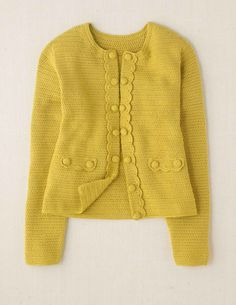 Yellow Hand Crochet Cardigan by Boden Gilet Crochet, Crochet Coat, Crochet Jacket, Crochet Cardigan, Easy Crochet, Crochet Clothes, Facon, Sweater Jacket, Pulls