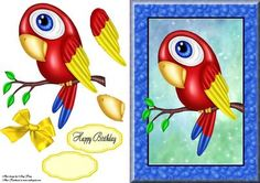 """Gorgeous Exotic Parrot  on Craftsuprint designed by Amy Perry - Gorgeous Exotic Parrot in a lovely blue bubble frame with decoupage and choice of tag """"Happy Birthday"""" and a blank tag for your own sentiment."""
