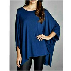‼️SALE‼️HI-LO OVERSIZED TOP New oversized boxy fit, three-quarter length dolman sleeves, round neck, hi-low top. Has side slits. Has center back seam. This top is made with heavy weight knit jersey that is soft, drapes well and has great stretch. Available in navy blue. Fabric 95% Rayon, 5% Spandex Available in XS/S or M/L PRICE IS FINAL Made in USA 4 Bidden Boutique Tops