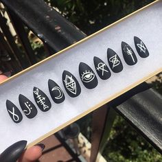 Matte Black Witch Nails, Set of 10 Satanic Rune press on nails, symbol nails