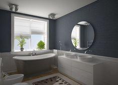 badezimmer grau mit zigelwand und badezimmerschrank weiß mit zwei waschtischen
