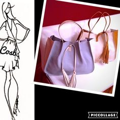 SALELarge Handbags with Tie Fringe Large Powder Blue & Cream or Tan & Cream Handbags. Bags have an attachable should strap, can tie or untie fringe. Very deep interior with a pouch in the bag. Each bag is $45. Faux leather. Bags r Vegan, lead free. Alyssa Bags