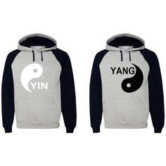 Yin Yang Hoodies Couple Sweatshirts ($50) ❤ liked on Polyvore featuring tops, hoodies, sweatshirts, grey, women's clothing, gray sweatshirt, hooded sweatshirt, grey hooded sweatshirt, grey hoodie and grey hoodie sweatshirt
