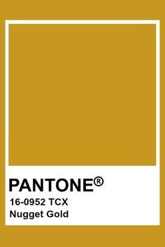 Pantone Nugget Gold Pantone Gold, Pantone Tcx, Yellow Pantone, Pantone Swatches, Color Swatches, Pantone Paint, Colour Pallette, Colour Schemes, Color Trends