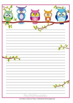 beautiful owl lined page insert for planner ideas Printable Lined Paper, Free Printable Stationery, Owl Crafts, Paper Crafts, Goodnotes 4, Theme Harry Potter, Owl Always Love You, Stationery Paper, Writing Paper
