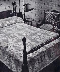 Filet Beauty Filet Crochet Vintage Bedspread Pattern PDF c.