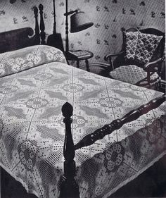 Filet Beauty Filet Crochet Vintage Bedspread Pattern PDF, c. 1941