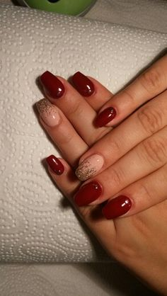 Nail burgundy gold