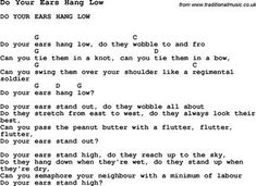 Summer-Camp Song, Do Your Ears Hang Low, with lyrics and chords for Ukulele, Guitar Banjo etc. Ukulele Tabs, Ukulele Songs, Ukulele Chords, Camp Songs, Kids Songs, Summer Camps For Kids, Summer Kids, Lyrics And Chords, Music Therapy