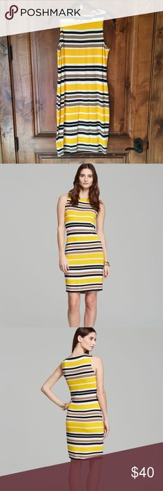 🎉Fall Sale🎉 Vince Camuto Yellow Legacy Dress Spring 2014.  Like new only worn a few times. A fun and bright dress perfect for all seasons. Perfect for summers heat or layered in winter with boots. Sleeveless, fully lined, great drape and look on. Measurements by brand - Bust 35, Waist 27.5, Hips 37.5, Length 36 Vince Camuto Dresses