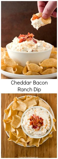 Cheddar Bacon Ranch Dip - you only need 5 ingredients to mix this dip up! It's so good and perfect for a game day or a party!
