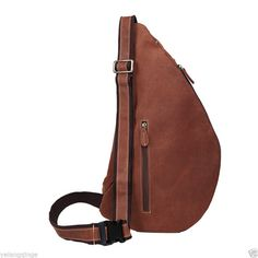 Mens Genuine Leather Sling Pack Shoulder Bag Sport Travel Cross Chest Backpack