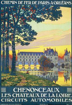 Affiche chemin de fer de paris à orléans - Chenonceaux - illustration de Constant-Duval - France -