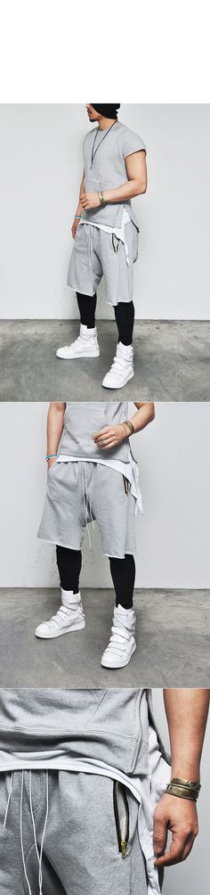 Bottoms :: Shorts :: Designer Zippered Short Crew Leggins Set-Sweatpants 99 - Mens Fashion Clothing For An Attractive Guy Look