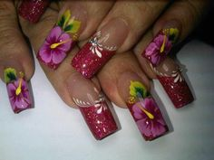 Y Summer Vacation Nails, Vacation Nail Art, Sexy Nails, Hot Nails, Gorgeous Nails, Pretty Nails, Acrylic Gel, Flower Nail Art, Beautiful Nail Designs