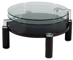 Walnut Chrome Metal Glass Wood Cocktail Table