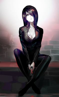 Anime picture with original luen kulo single tall image short hair looking at viewer breasts fringe sitting holding signed cleavage aqua eyes parted lips hair over one eye tattoo head tilt crossed legs dark hair brick wall Anime Sexy, Anime Sensual, Cool Anime Girl, Beautiful Anime Girl, Anime Art Girl, Anime Girls, Hot Anime, Kawaii Anime, Chica Anime Manga