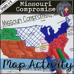Missouri Compromise Map Activity - Use this four page resource with your 6th, 7th, 8th, 9th, 10th, or 11th grade classroom or homeschool students. Students will better understand the 1820 Missouri Compromise by coloring and labeling a map and answering questions to incorporate geography into your lesson. {sixth, seventh, eighth, ninth, tenth, eleventh graders - US History - social studies - upper elementary - middle school - high school} $