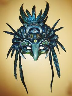 papier mache ideas, craft show ideas.-- other art ideas and inspiration Paper Mache Mask, Paper Mache Crafts, Gothic Mask, Day Of The Dead Mask, Paper Mache Animals, Craft Show Ideas, Art Ideas, Carnival Masks, Fantasy Costumes
