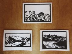 Woodblock print cards reproduced to 7 x 5 with quality matching envelopes. Distinctive black and white landscape images from the San Juan Mountains of S.W. Colorado. Sets come in packs of either horizontal or vertical orientation: 2 cards each of three images (6 total). Titles and artists signature on reverse side; inside is blank.
