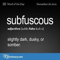 Subfuscous: slightly dark, dusky, or somber