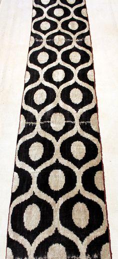4.53 Yard Velvet Fabric Velvet Ikat Fabric Handmade by YASTK