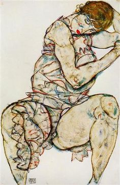 Seated Woman with Her Left Hand in Her Hair - Egon Schiele