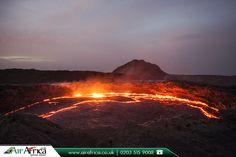 Erta Ale, Ethiopia  |  Erta Ale is a continuously active basaltic shield volcano in the Afar Region of northeastern Ethiopia. Erta Ale is the most active volcano in Ethiopia.  |  Book Now: http://www.airafrica.co.uk/destinations/ethiopia?utm_source=pinterest&utm_campaign=erta-ale-ethiopia&utm_medium=social&utm_term=ethiopia  | #ertaale #eastafrica #ethiopia #flights #travelagentsinuk #airafrica