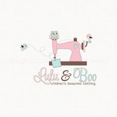 Premade Sewing Machine Logo with Owl and little Birds