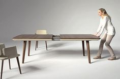 Flaye Extendable Table seen on www.shoeboxdwelling.com  made by Team & (a U.K. company) extends to 100cm in 5 seconds