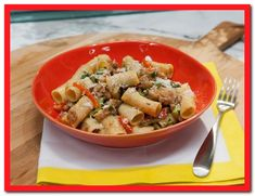 Rigatoni with Spicy Chicken Sausage, Asparagus, Eggplant, and Roasted Peppers Recipe : Brian Boitano : Food Network - serves 4 Best Pasta Recipes, Gnocchi Recipes, Top Recipes, Skillet Recipes, Sauce Recipes, Dinner Recipes, Kitchen Recipes, Cooking Recipes, Pizza
