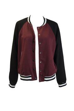 Maroon and Black Varsity Jacket