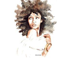Delicate+Watercolors+Combat+Oversimplified+'Strong+Black+Woman'+Stereotype/Deborah Cartwright is the artist Black Girl Art, Black Women Art, Art Girl, Natural Hair Art, Pelo Natural, African American Art, African Art, Arte Sketchbook, Black Artwork