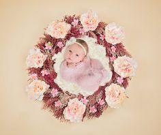 FLORAL wreath newborn Digital Backdrop digital composite for newborn editing, newborn photography pink flowers with white fur/flokati by SvitlanaVronskaART on Etsy