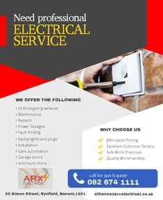 Arx Electrical :) Benoni  -24 Emergency Services -Maintenance -Repairs -Power Outages -Fault Finding -Faulty Lights and plugs -Installations -Gate Automation -Garage Doors And much more  Cell: 082 674 1111 Email: ettienne@arxelectrical.co.za Address: 50 Simon Street, Rynfield, Benoni, 1501 Gate Automation, Service Maintenance, Quick Quotes, Survival Shelter, Rocket Stoves, Water Storage, Power Outage, Energy Technology, Electrical Engineering