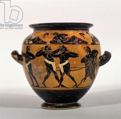 Attic black-figure stamnos depicting boxers, c.520-500 BC (pottery) Ashmolean Museum, University of Oxford, UK