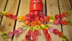 Recycled Octopus made from recycled plastic caps for my nephew