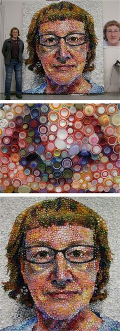 Chicago-based artist Mary Ellen Croteau has created a self-portrait using thousands of recycled plastic bottle caps. She considers herself a political artist who uses her works to make statements. This time she wanted viewers to realize how rarely bottle caps are recycled. She achieved all the color tones simply by combining different color bottle caps & fitting them one inside the other. The 8-foot by 7-foot portrait is a remarkable example of eco art.